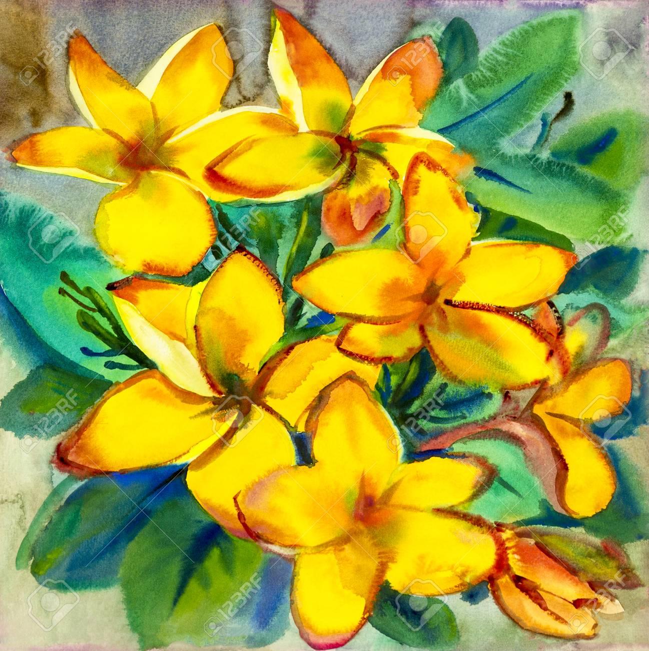 Aquarelle Peinture Originale Fleurs Colorees De Fleur De Plumeria