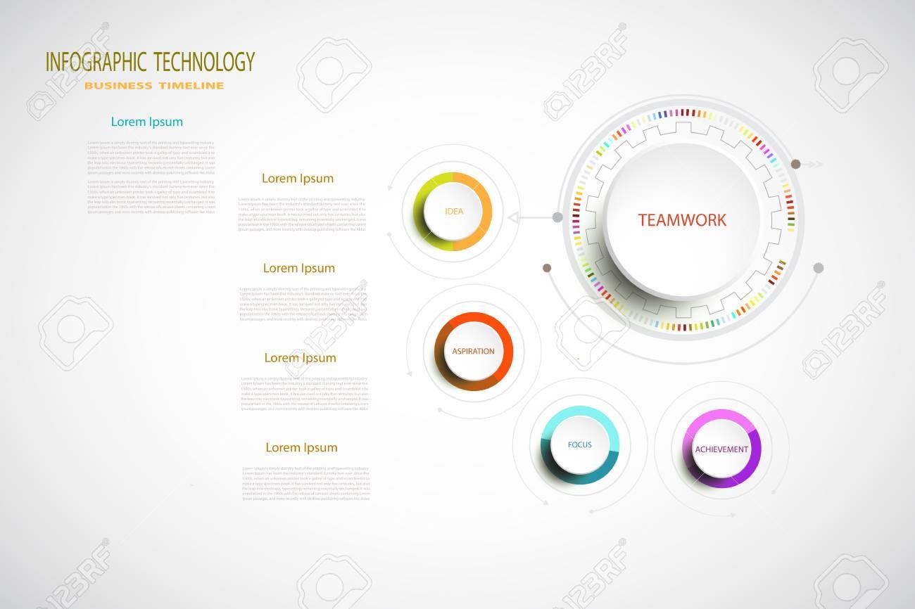 インフォ グラフィック技術テンプレート デジタル学通信 4 のステップは
