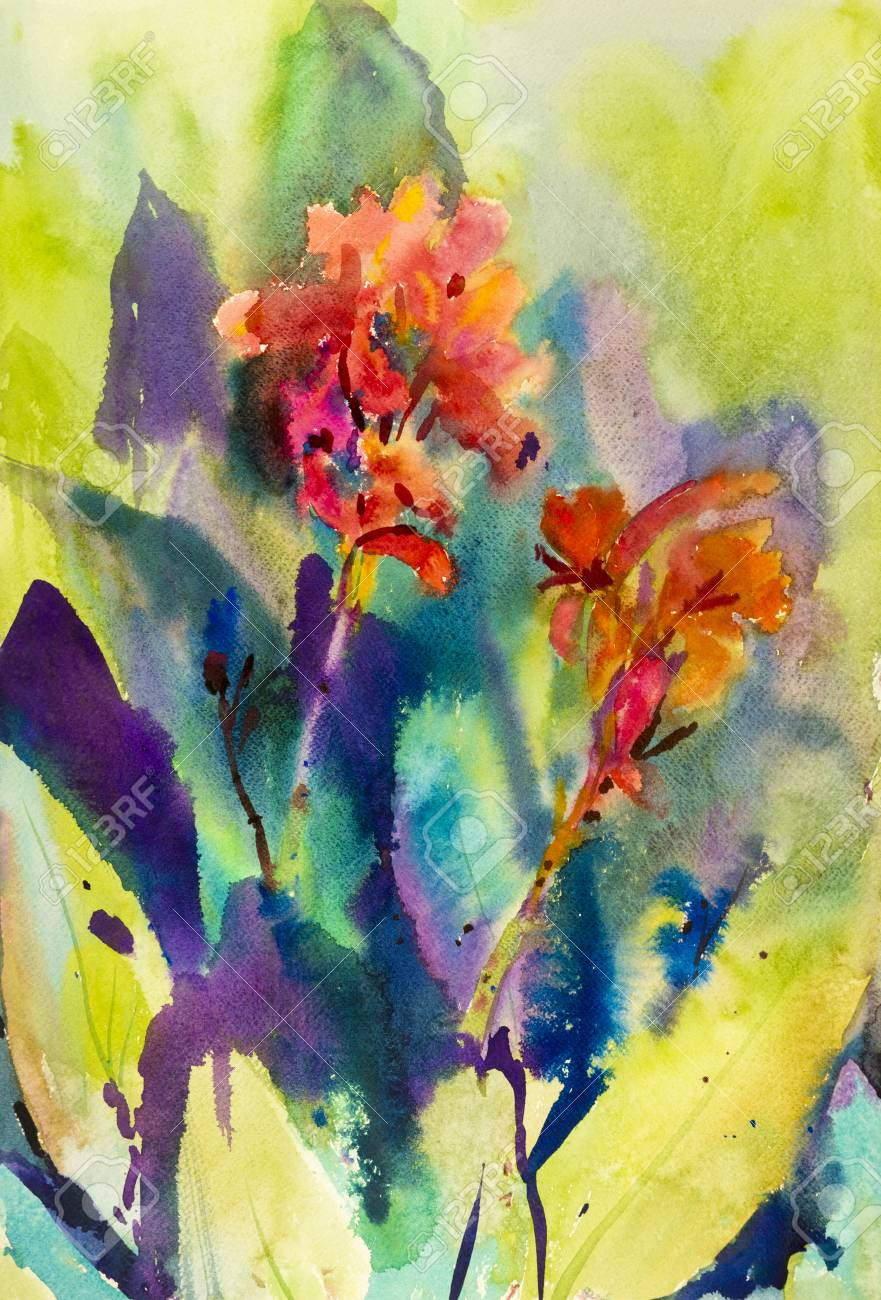 Watercolor landscape original painting colorful of canna lily stock photo watercolor landscape original painting colorful of canna lily flower and emotion in green leaves background izmirmasajfo