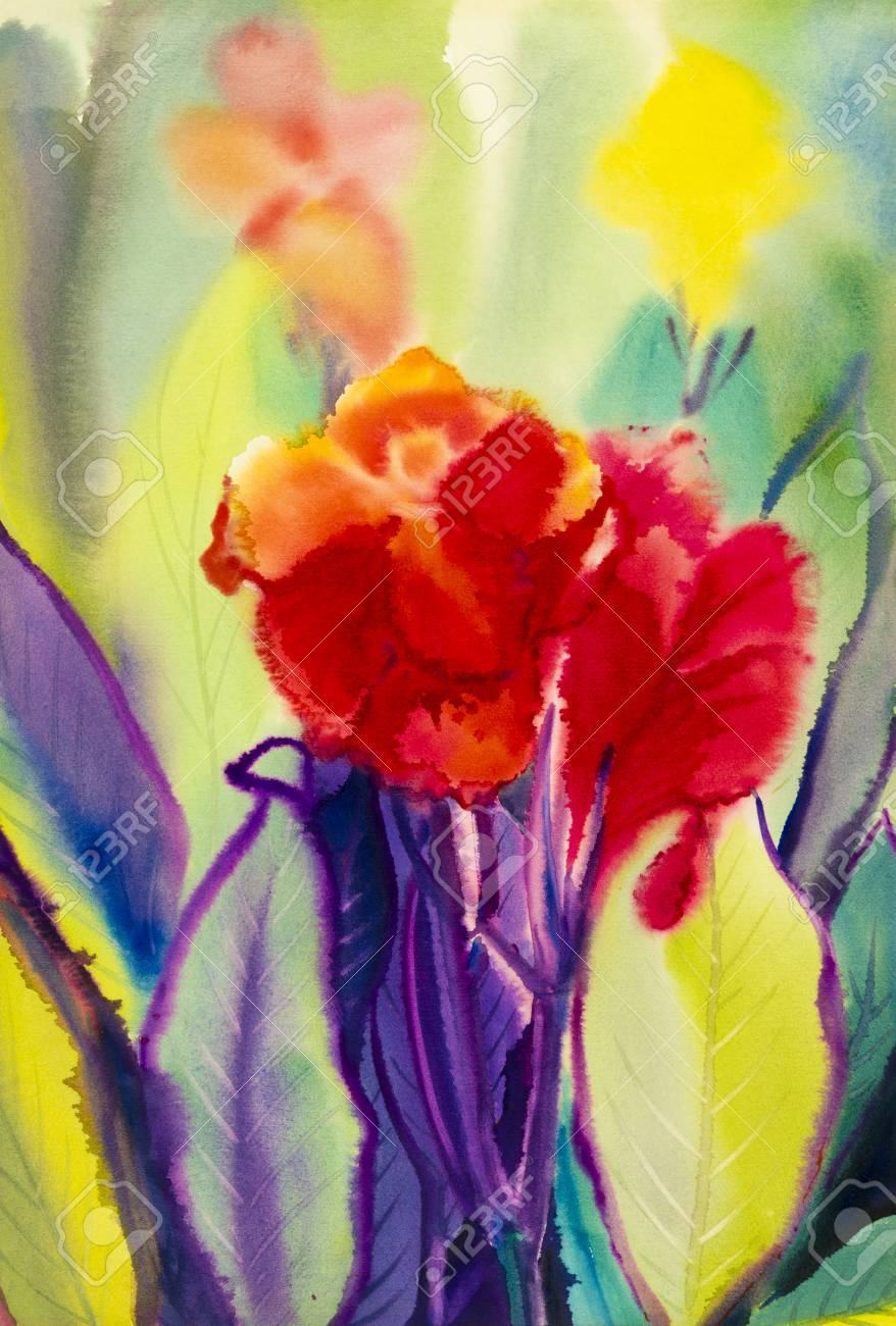 Watercolor Landscape Original Painting Colorful Of Canna Lily ...