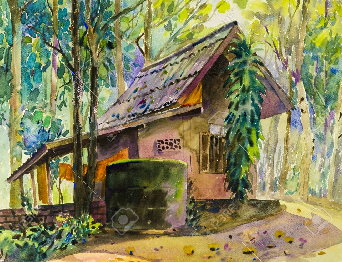 watercolor landscape original painting colorful of house in forest stock photo picture and royalty free image image 94969641 watercolor landscape original painting colorful of house in forest