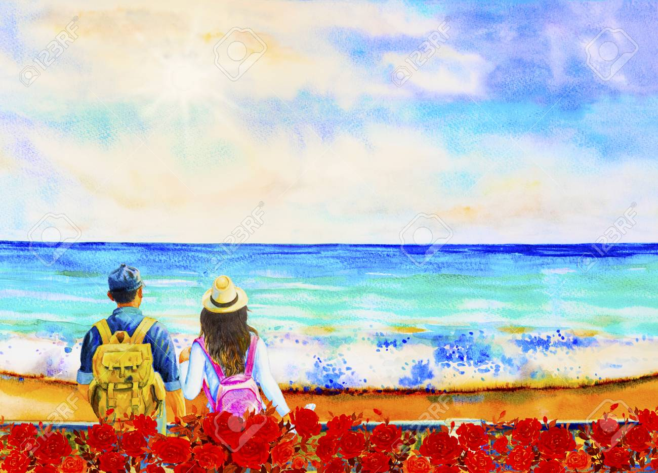 Illustration - Watercolor painting seascape of couple Man and woman travel  with backpack. Ocean travel lifestyle concept adventure active summer. 5e0c1b2992d3b