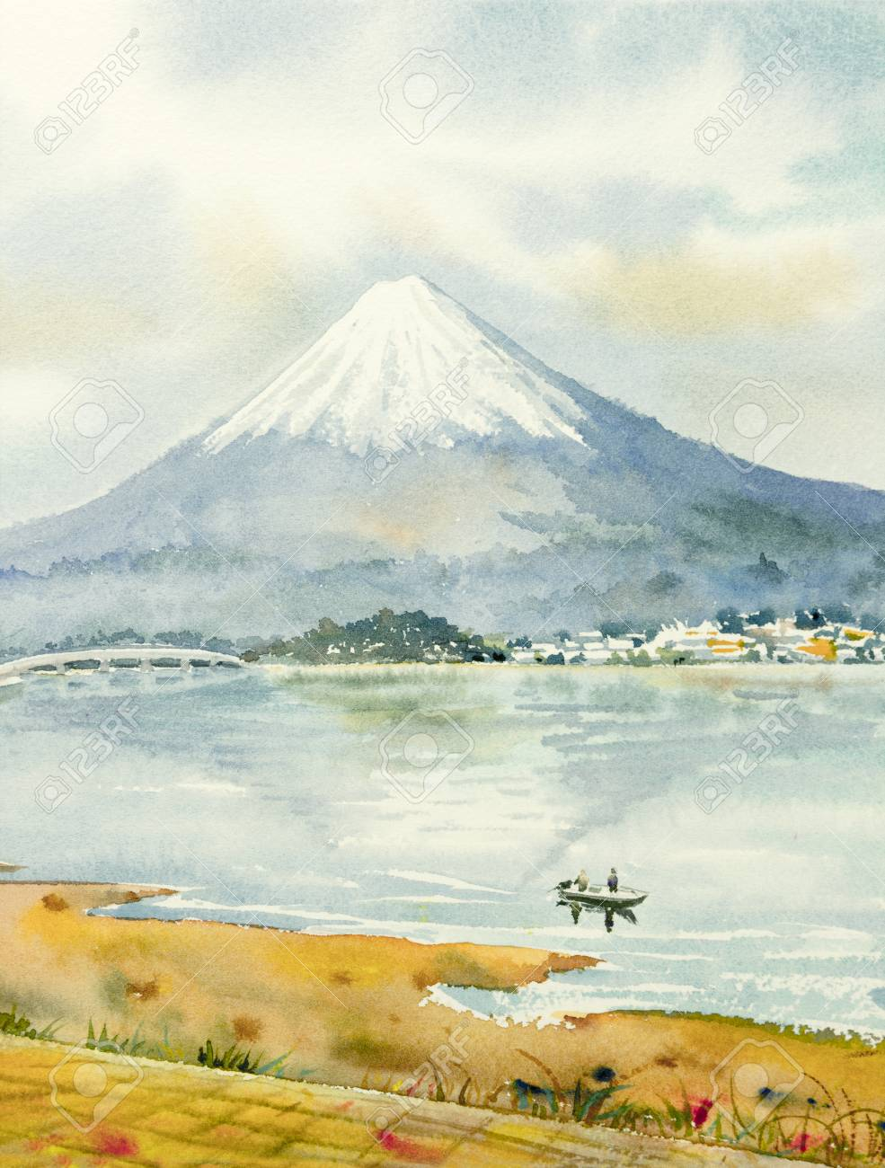 Mount Fuji Lake Kawaguchiko Famous Landmark Of Japan Watercolor Stock Photo Picture And Royalty Free Image Image 101525423
