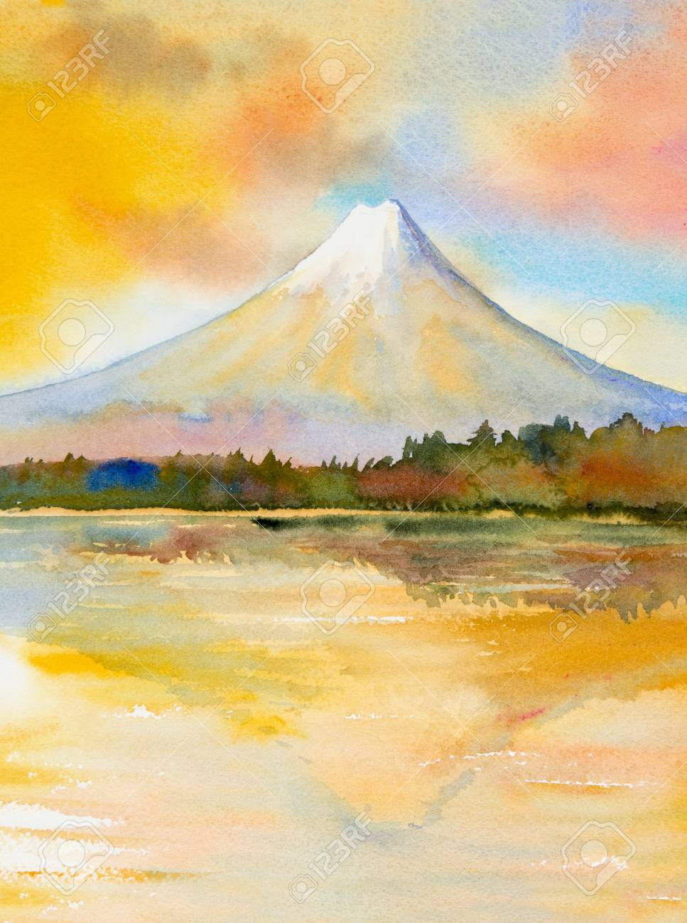 Mount Fuji Lake Kawaguchiko Famous Landmark Of Japan Watercolor Stock Photo Picture And Royalty Free Image Image 101699292