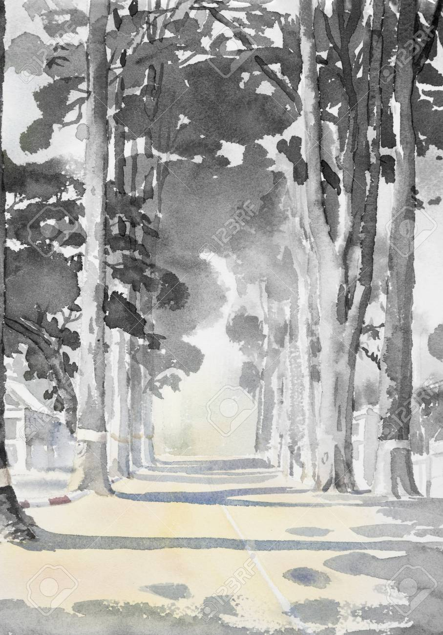 Illustration watercolor landscape painting black white color of tunnel trees and street countryside and emotion in rural society nature beauty