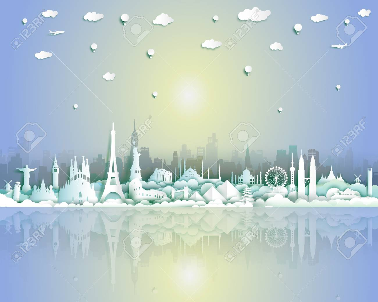 Landmarks of the world with city and seascape background, Travel around the world to France,England,Spain,Italy,Egypt,America,Europe and Asia with paper cut and style for travel poster and postcard. - 108643635