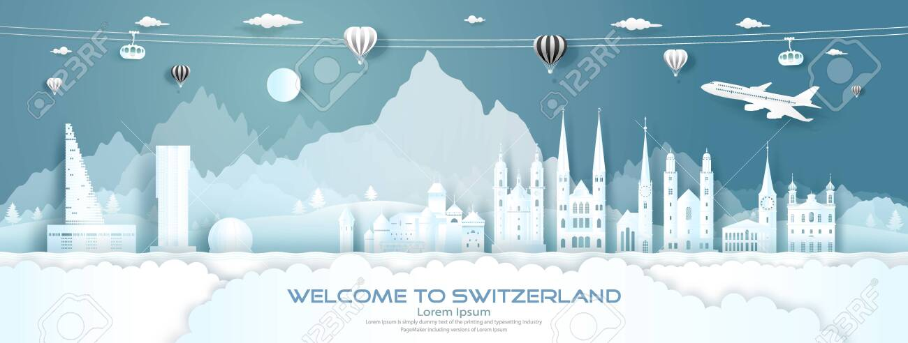 Travel panorama to switzerland top world famous palace and castle architecture. Tour zurich, geneva, lucerne, interlaken, landmark of europe with paper cut. Business brochure design for advertising. - 143478102