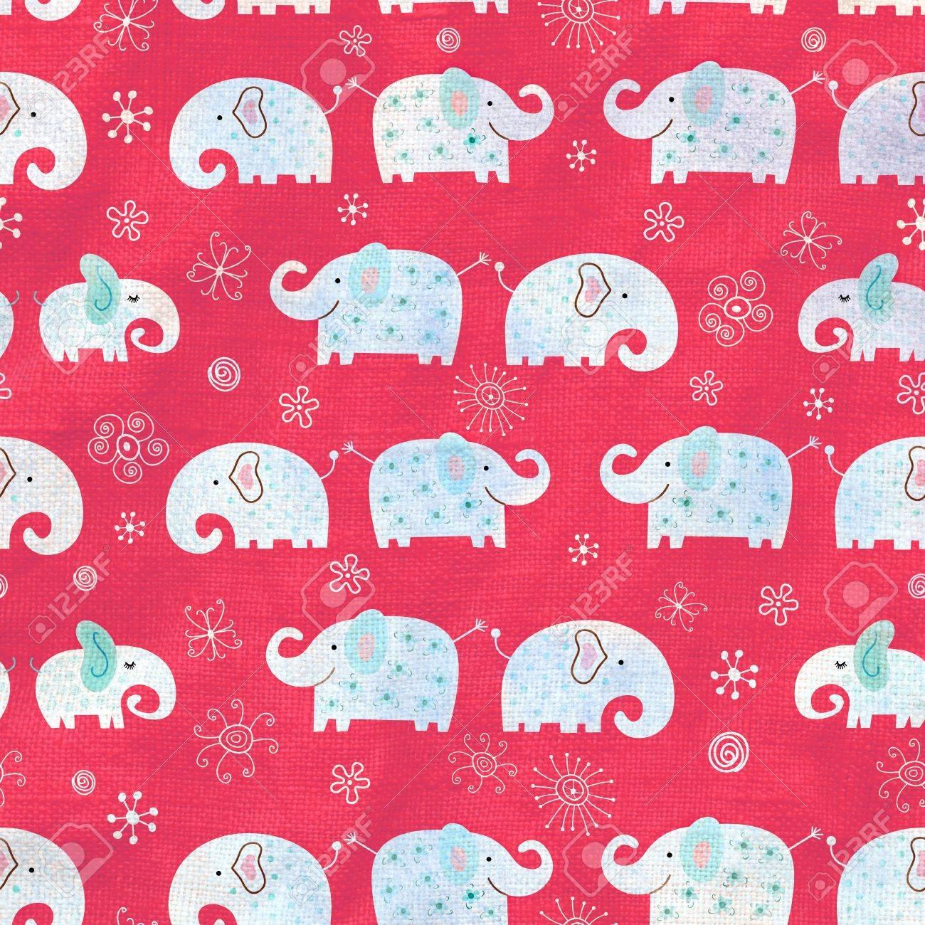 Seamless vivid pattern with elephants on a purple background Stock Photo - 19244652