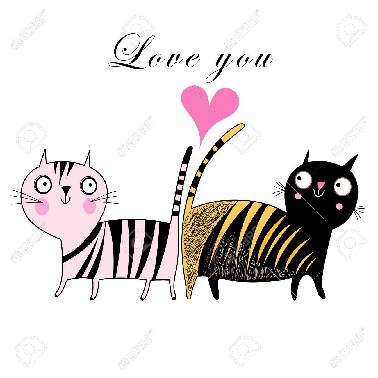 funny love cats on a white background with a heart - 19376892