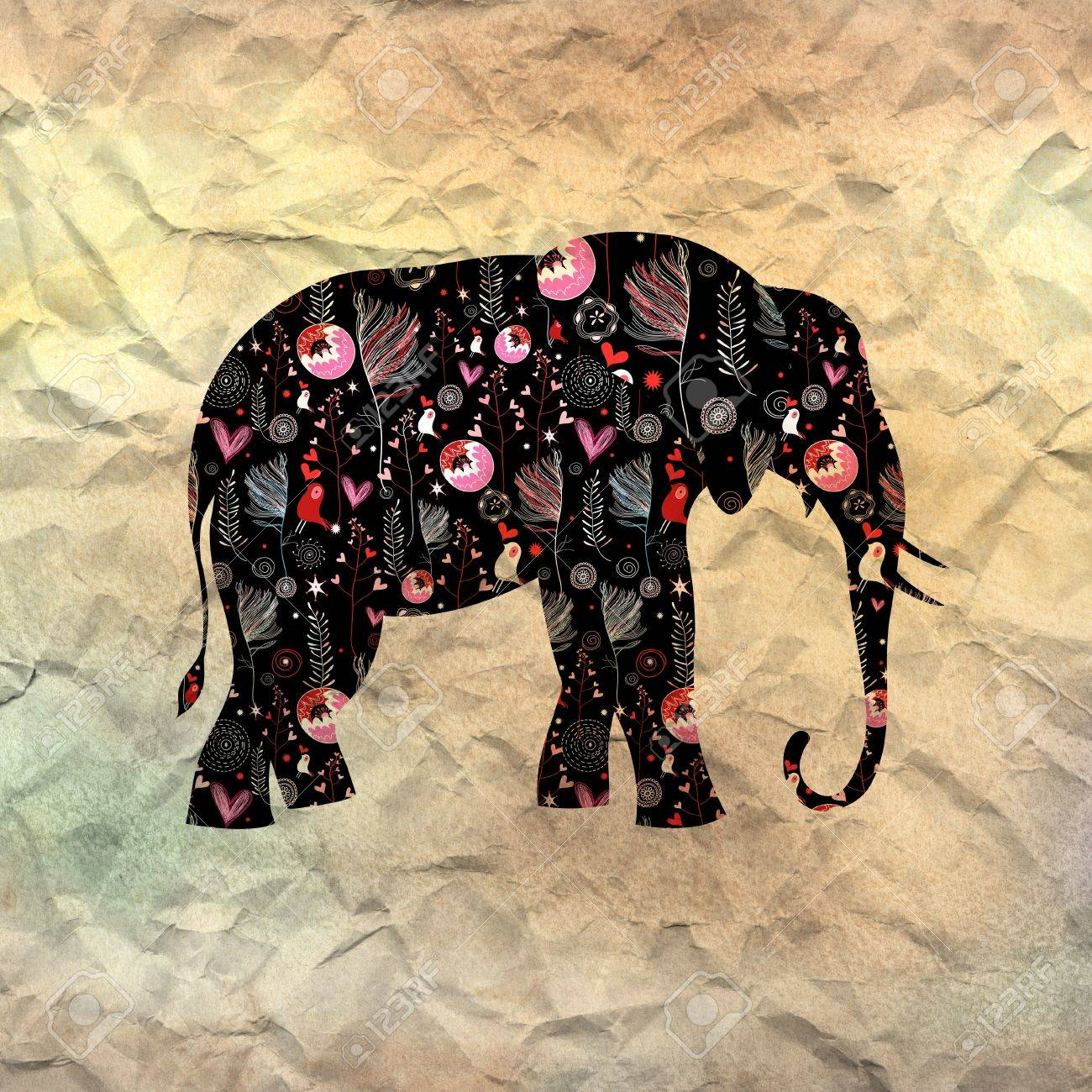 beautiful ornamental elephant on textural background Stock Photo - 19376924