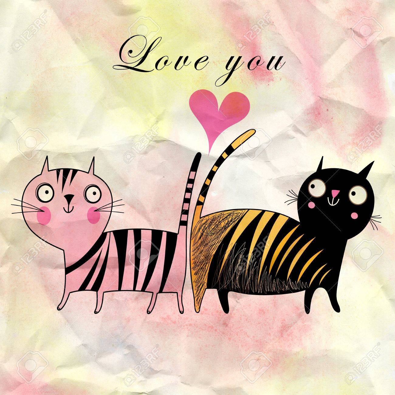 funny cats in love on watercolor background with a heart Stock Photo - 19376898