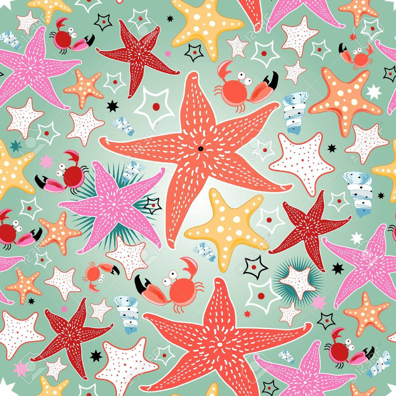 seamless bright pattern of sea stars on a light green background - 19581000