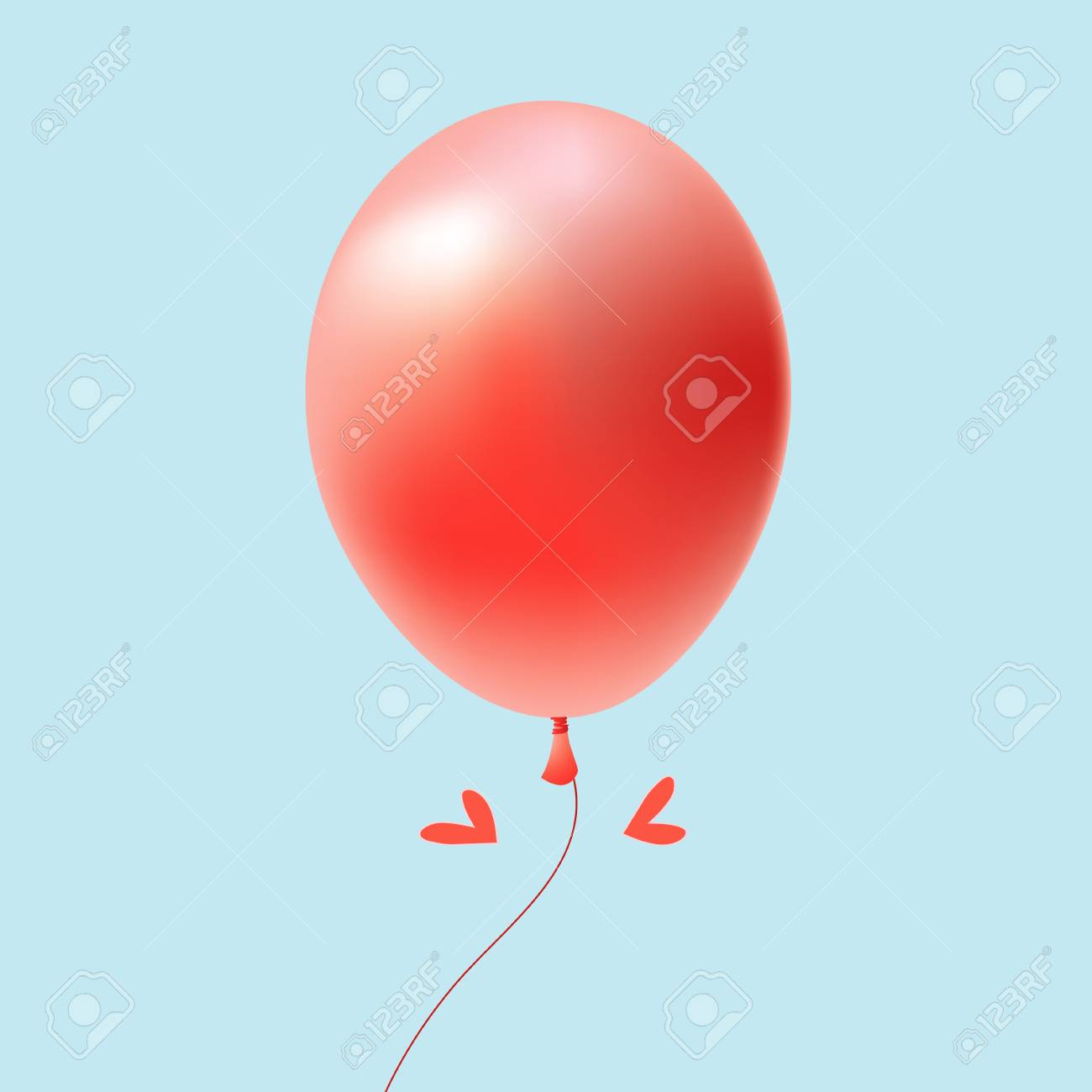 bright red balloon on a blue background Stock Vector - 19581372