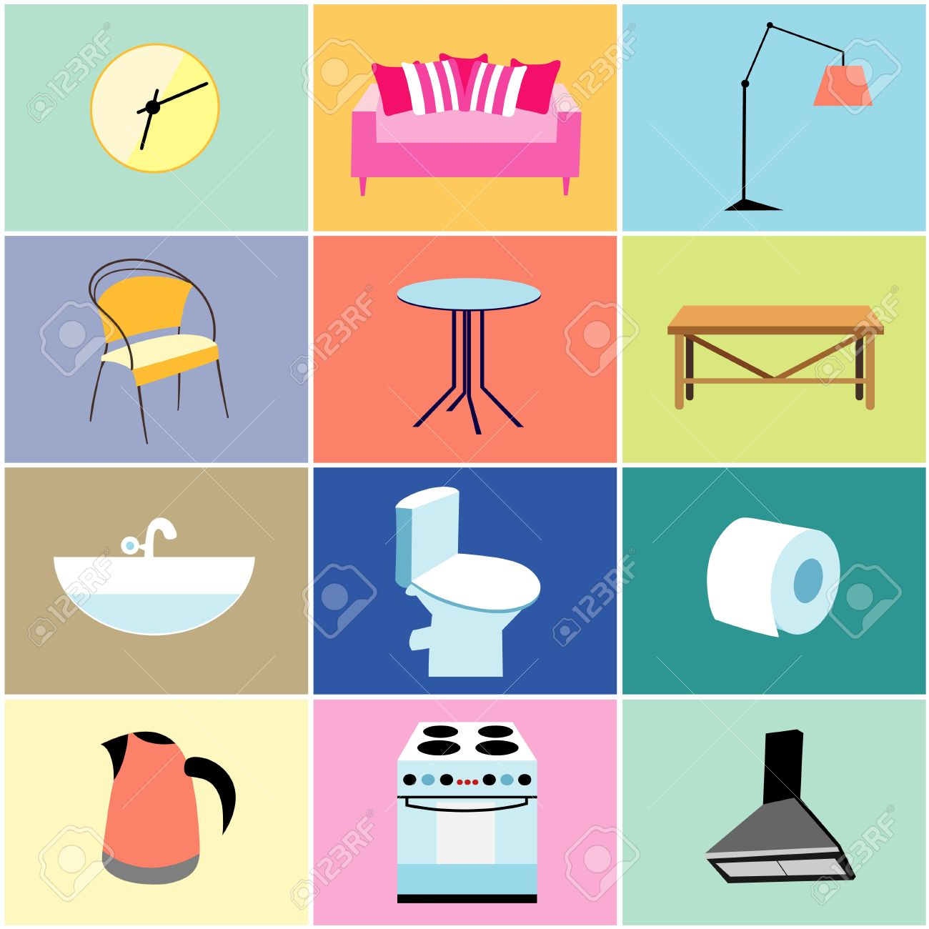 Set Of Objects And Furniture For The House On Colored Backgrounds Stock  Vector   19581367