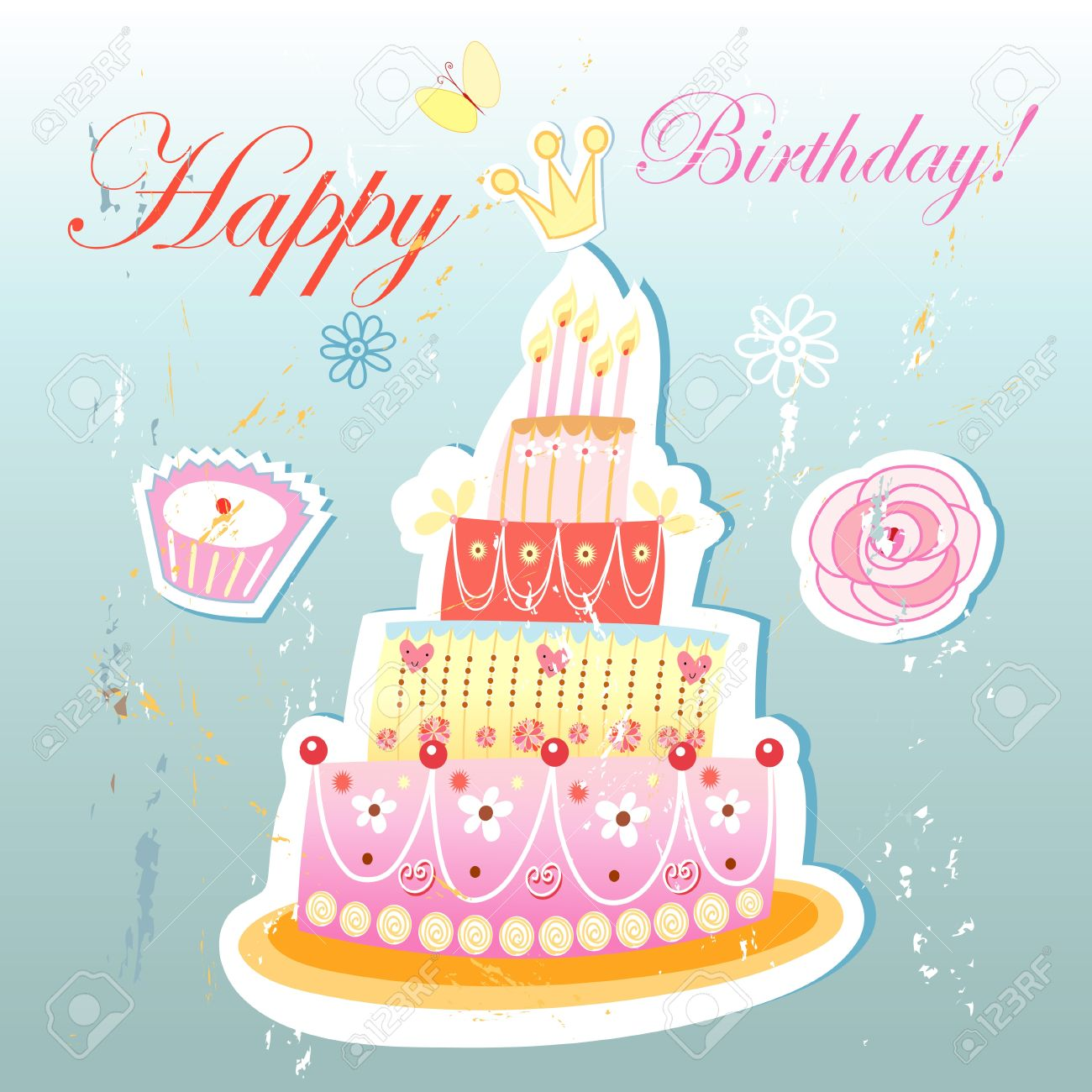 Bright Beautiful Birthday Cake On A Vintage Light Blue Background