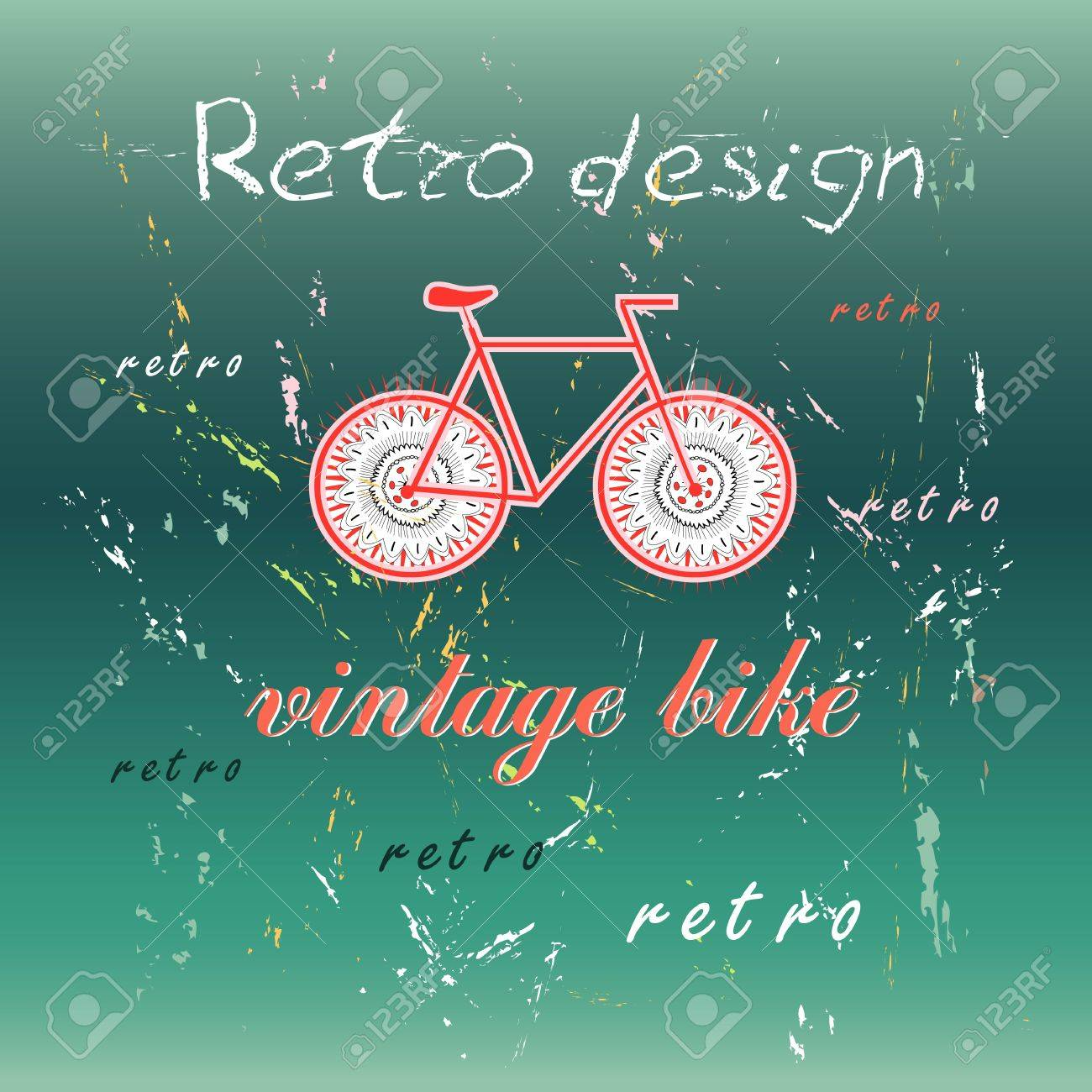 A beautiful sign of a bicycle on a dark green background of aged and inscriptions Stock Vector - 19746295