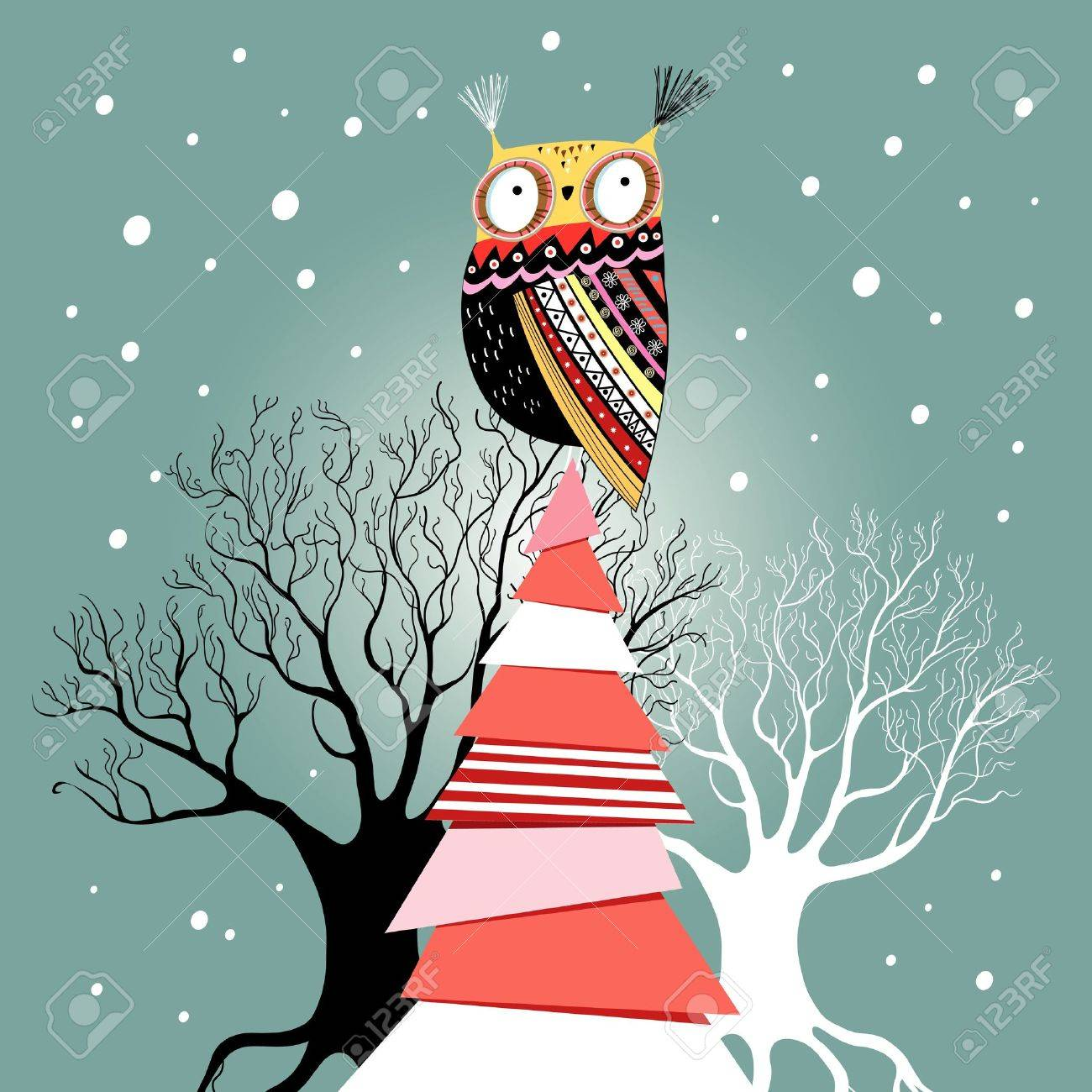 graphic beautiful Christmas card with an owl on the tree on a green background with snow - 20554892