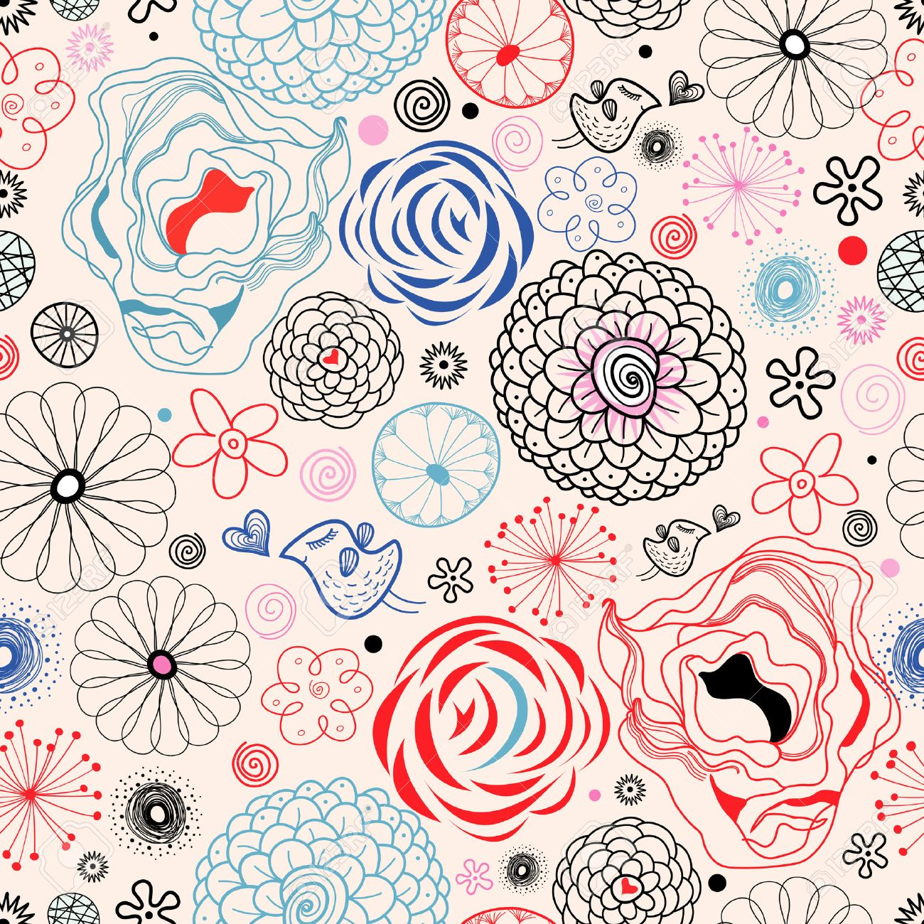 seamless graphic floral pattern with birds in love on a bright pink background - 24072321