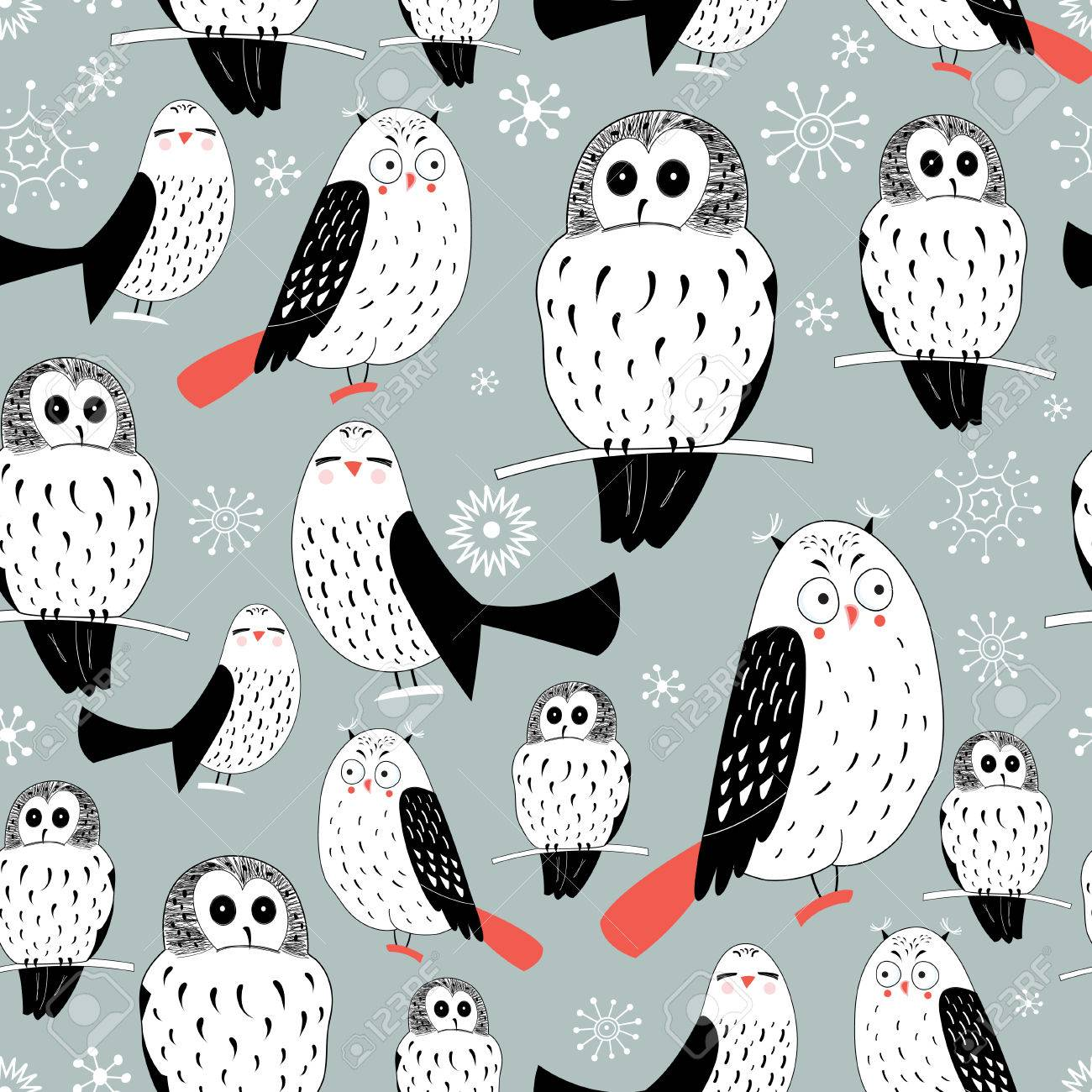 Seamless graphic pattern of white owls on a gray background with snowflakes - 24077502