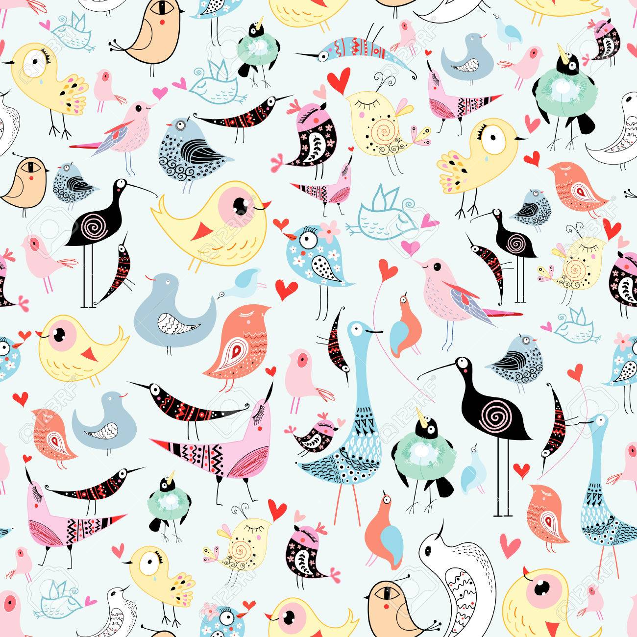 bright cheerful seamless pattern of funny birds on a blue background - 24182125