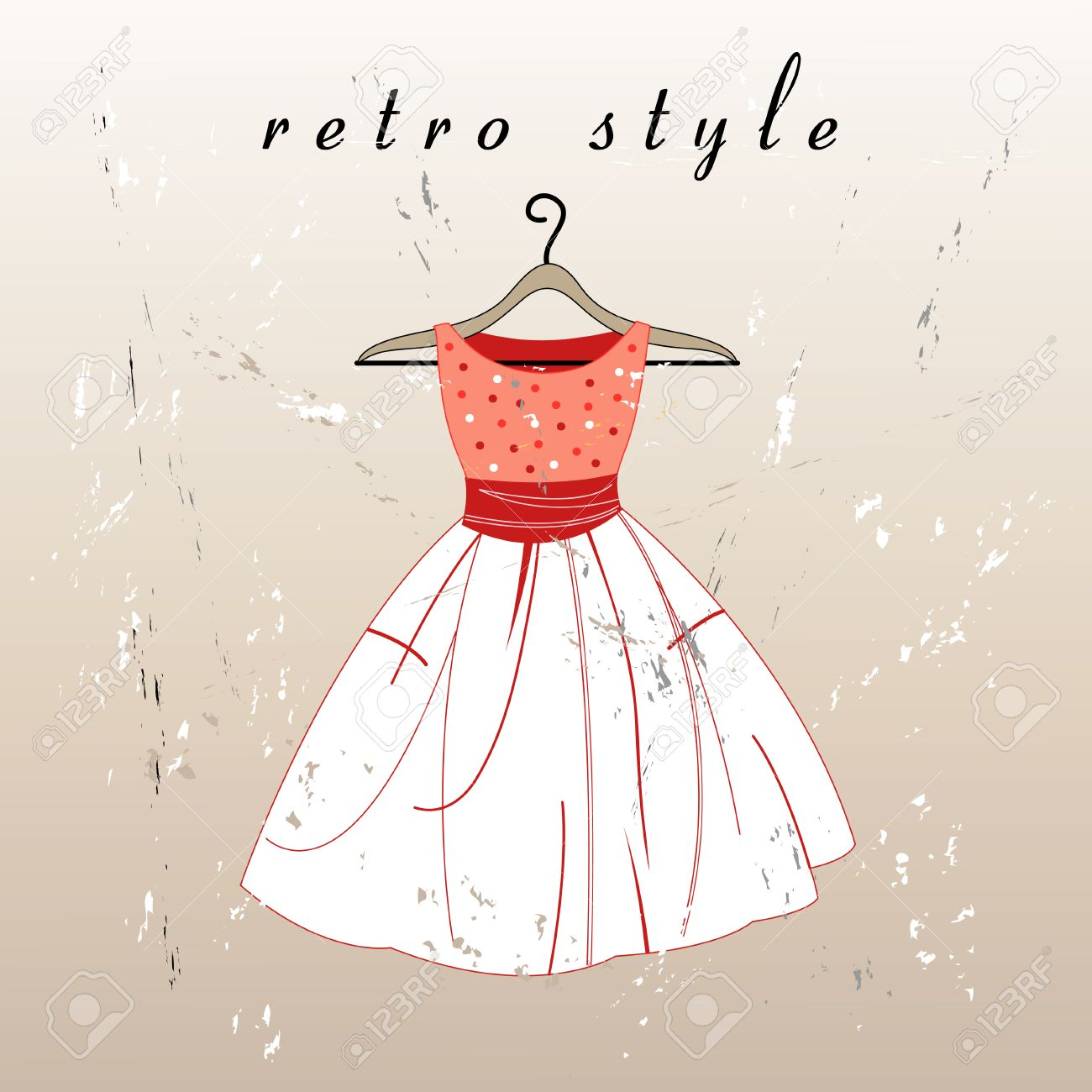 beautiful retro dress on a hanger on the textural background - 24332571