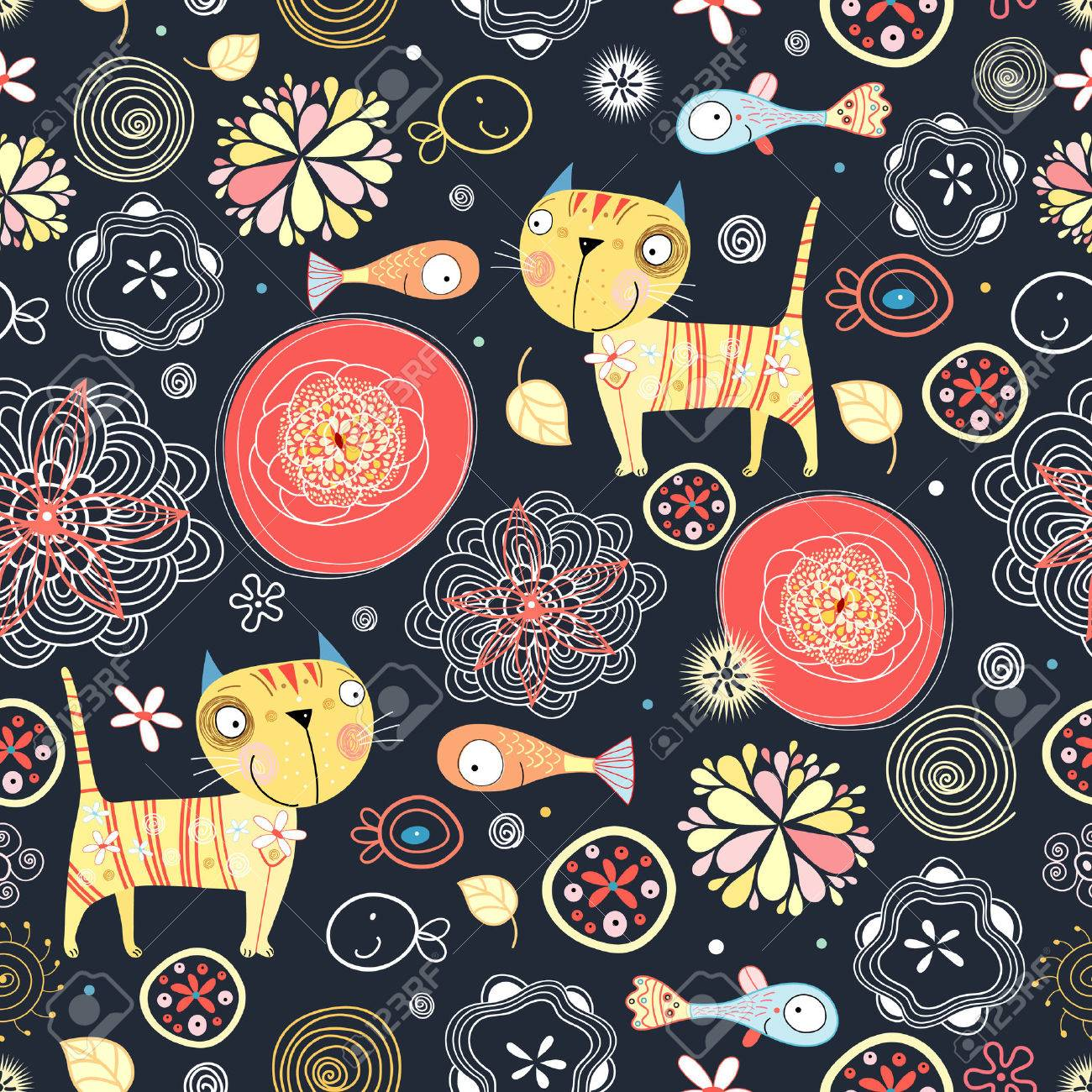 Bright seamless pattern with funny cats and fish - 24645693