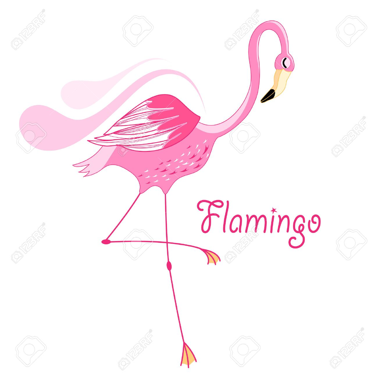 bright pink flamingo graphic on white background - 28599042