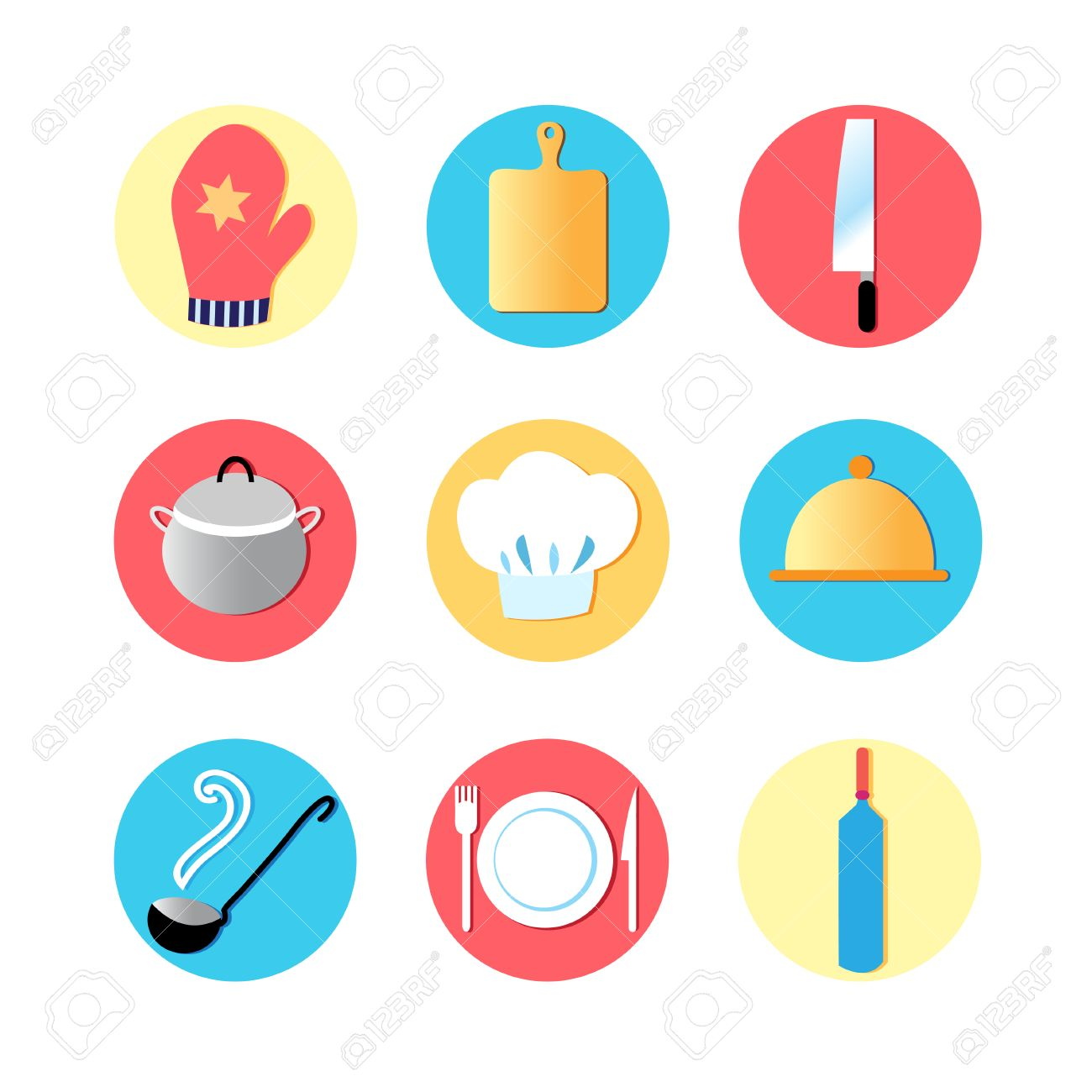 Kitchen Utensils And Kitchen Flat Icons, Cooking Tools, Utensils ...