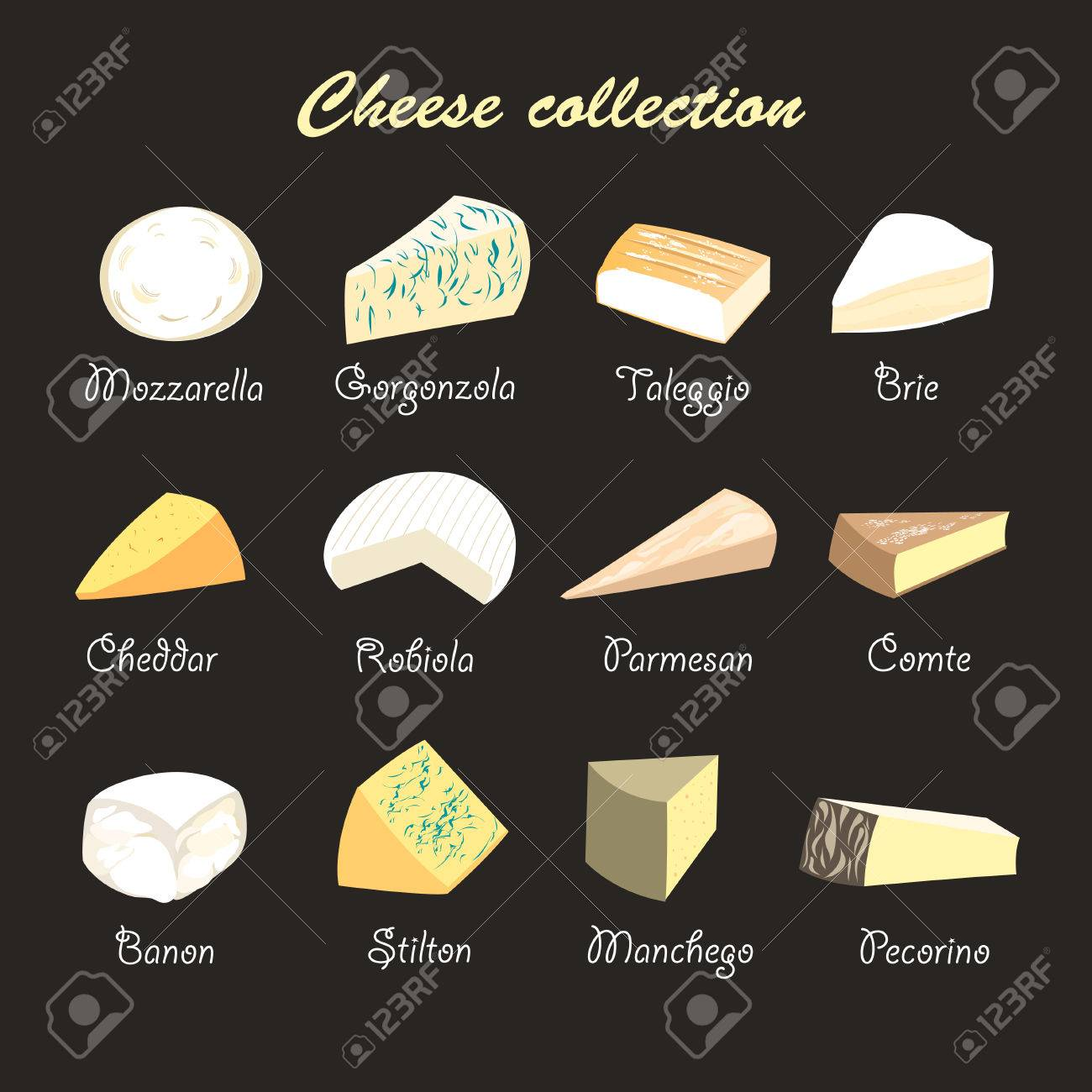 graphic beautiful collection of cheeses on a dark background - 34695020