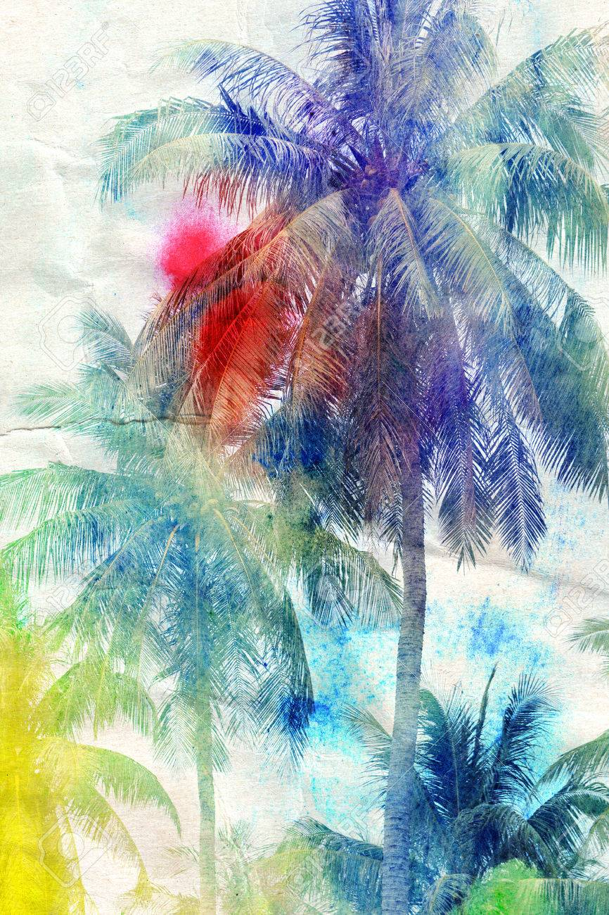 colorful retro colorful watercolor silhouettes of palm trees \r - 34772712