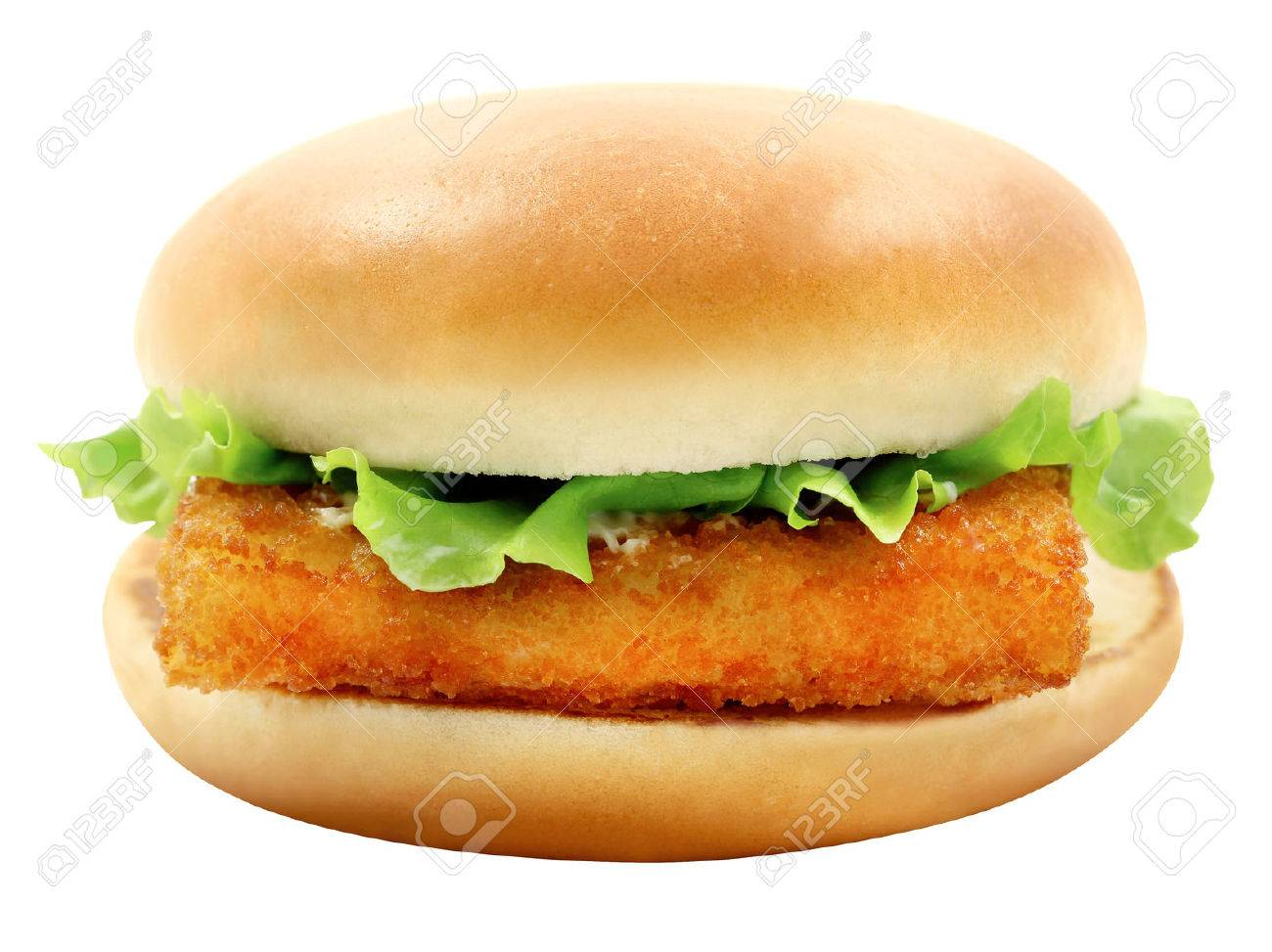 Bright photo of macro tasty burger with fish fillet on a white background - 38980567