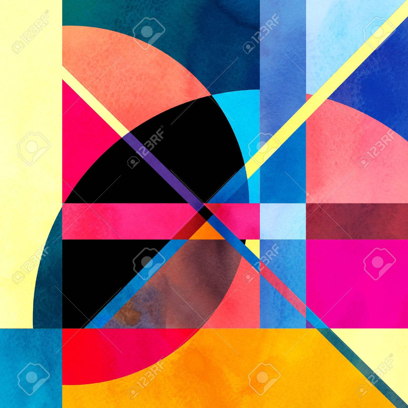 Watercolor abstract colorful background with fantastic elements. Background for design template. - 52065728