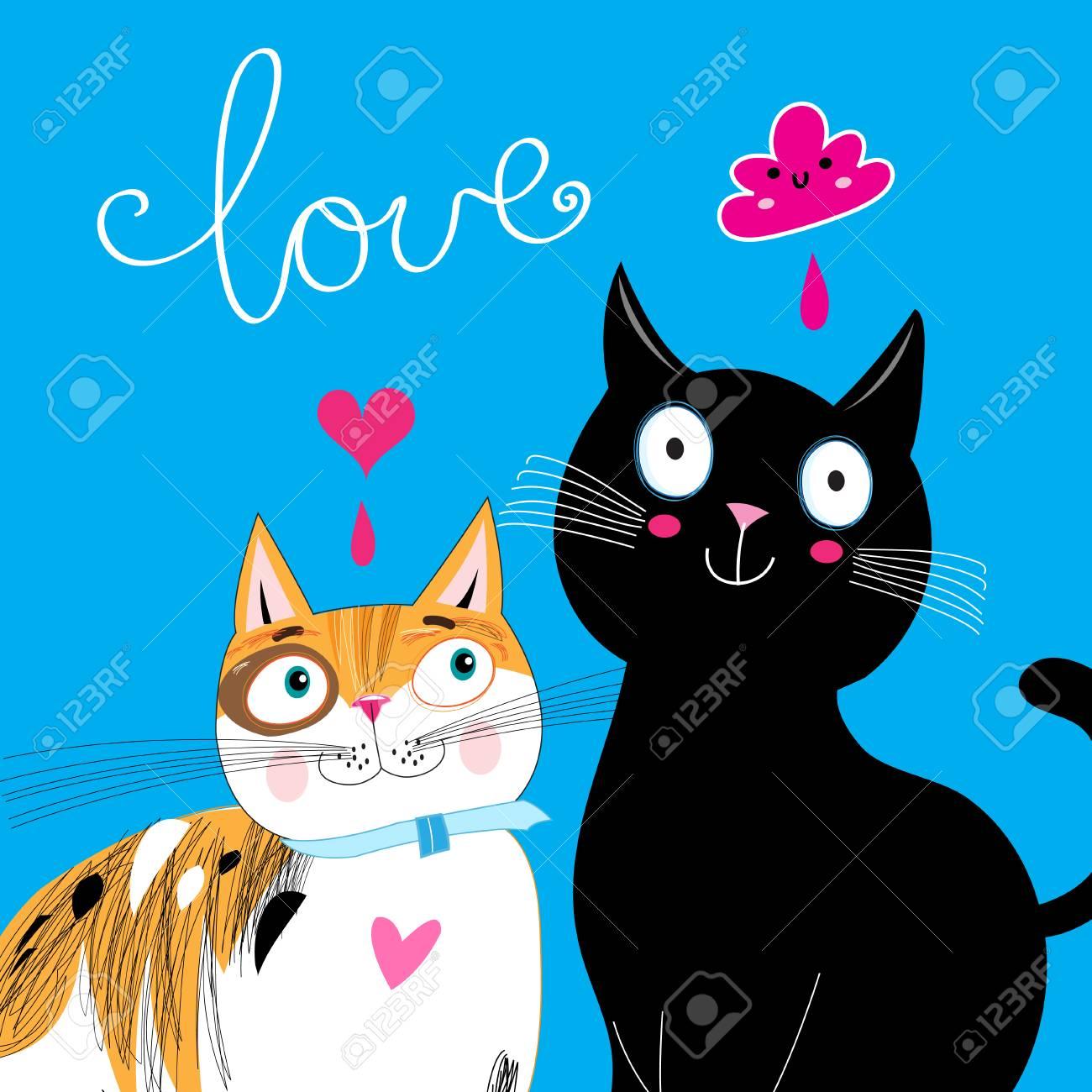 Brillante Postal Alegre Para El Día De San Valentín Con Gatos Amor