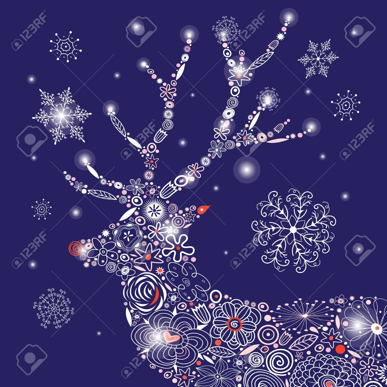 christmas ornamental deer portrait on a dark blue background royalty free cliparts vectors and stock illustration image 82064400 christmas ornamental deer portrait on a dark blue background