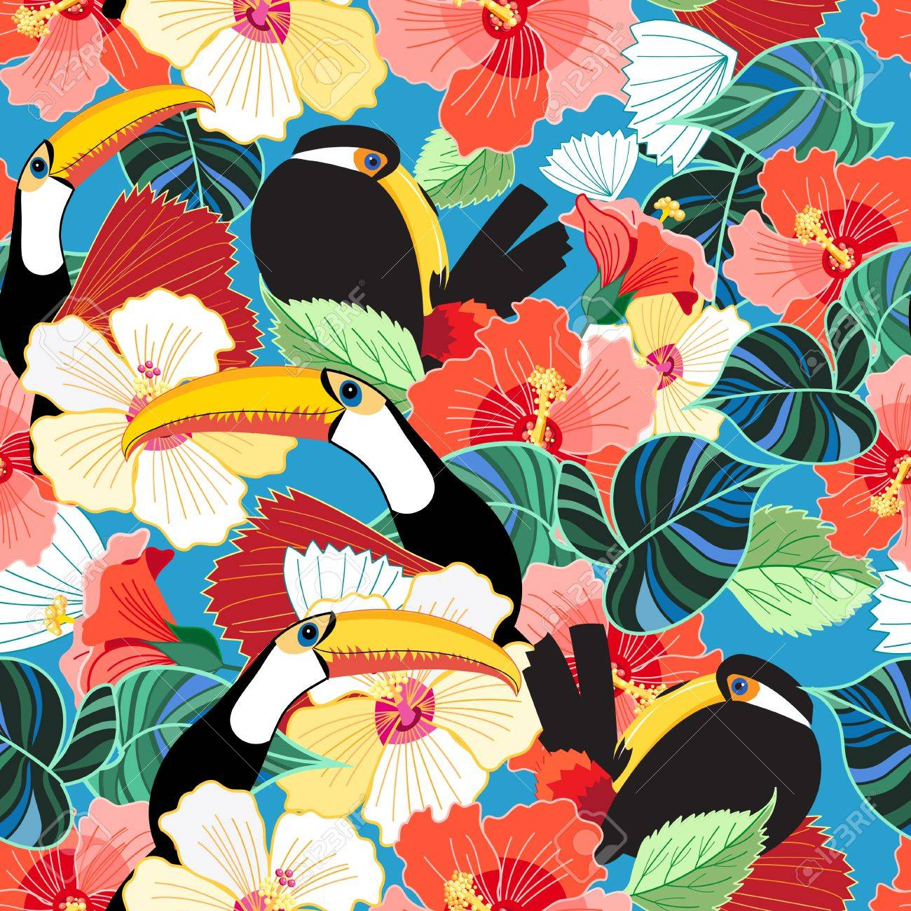 Bright tropical seamless pattern of toucans among flowers on the sky. - 84174455