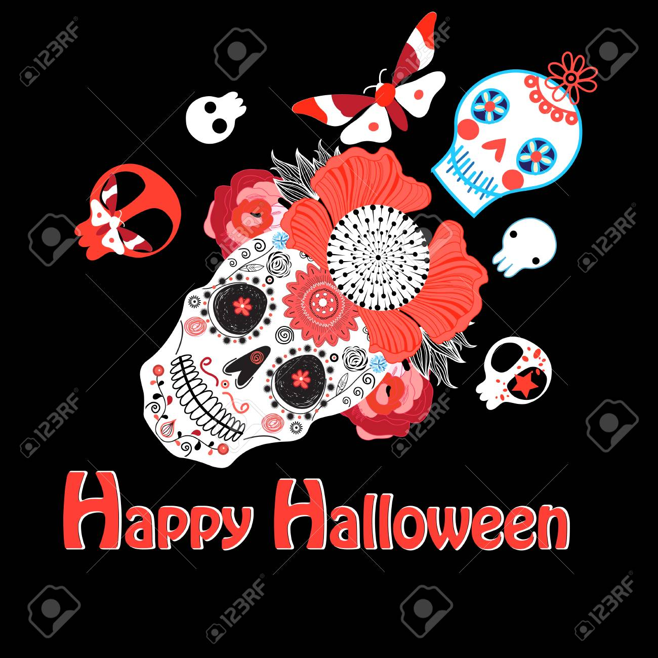 Vector Bright Greeting Card With Skulls For Halloween Royalty Free