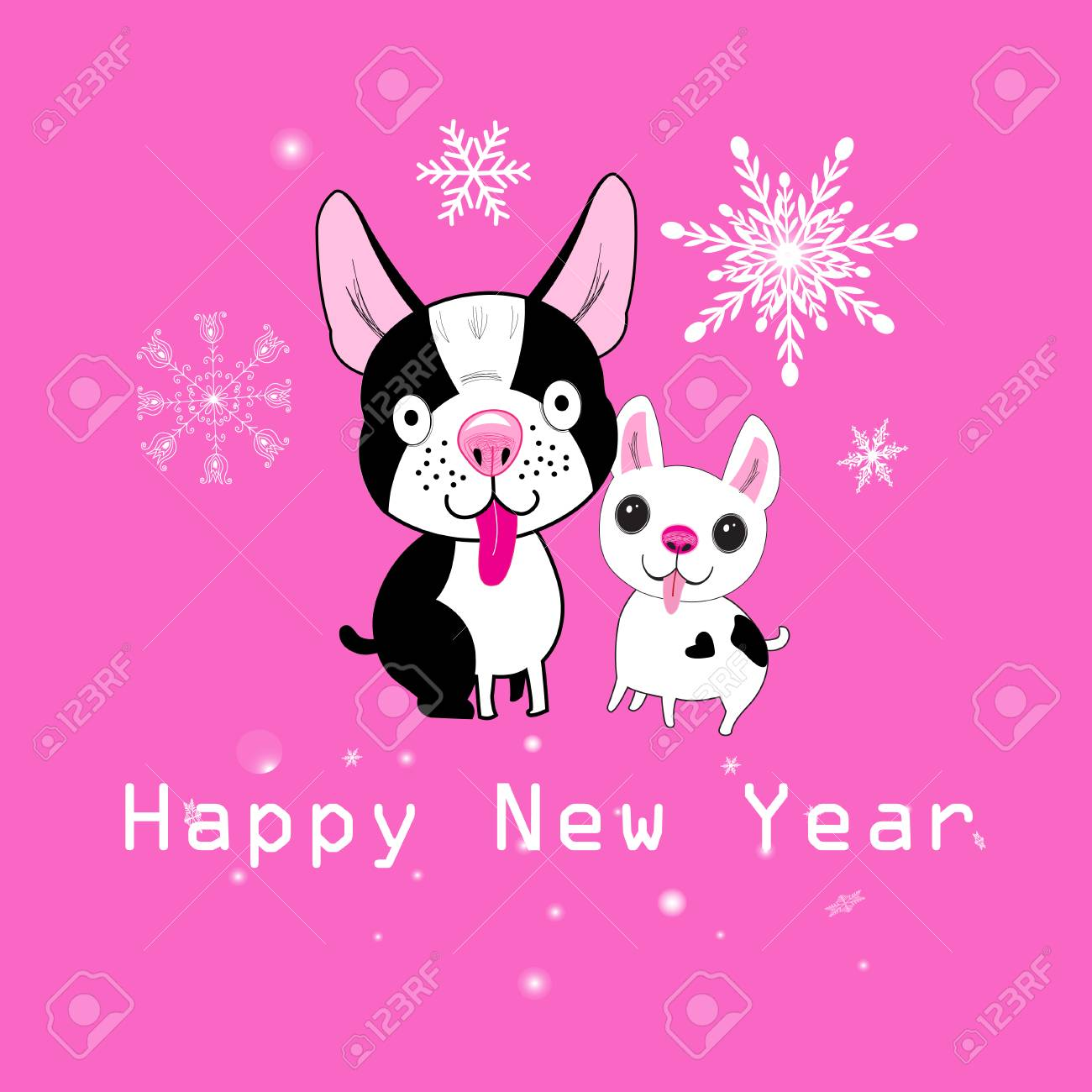 Christmas Card Little Funny Dogs On A Pink Background With ...