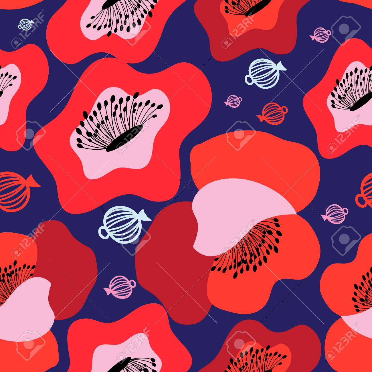 Vector seamless bright pattern of red poppies on blue - 98680652