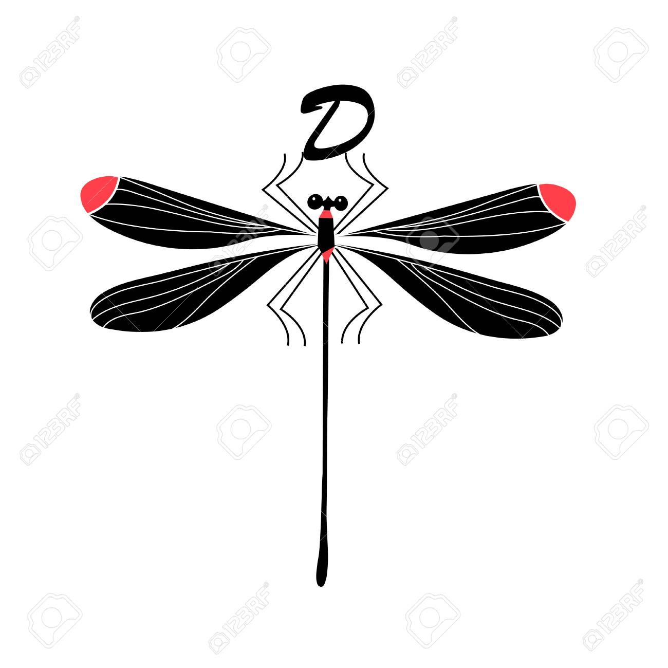 vector silhouette of a dragonfly on white background royalty free