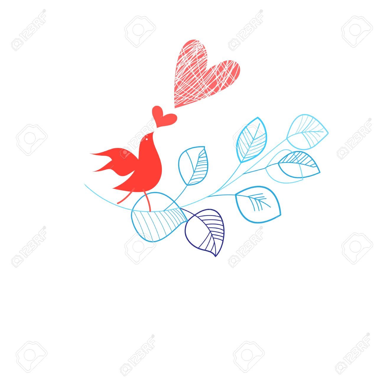 Holiday Card With A Bird In Love On White Background Royalty Free Heart Diagram Stock Vector 102015299