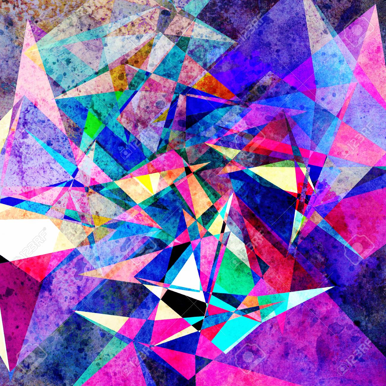 Watercolor retro color abstract geometric background. An example for the design of posters postcards. - 121178709