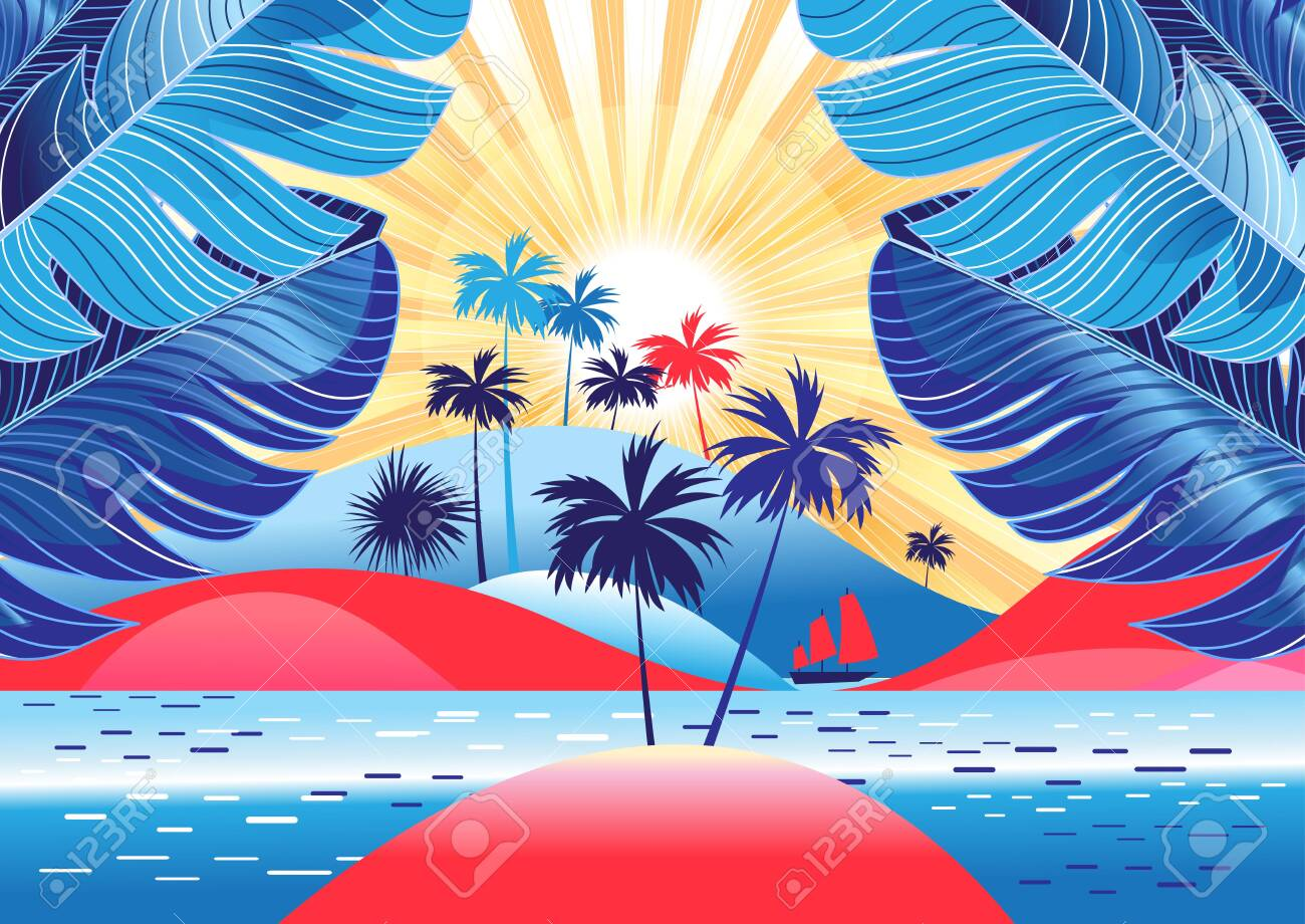 Tropical landscape with palm trees and bright sunshine on the beach. Design template for tourism advertising or book cover. - 127823597
