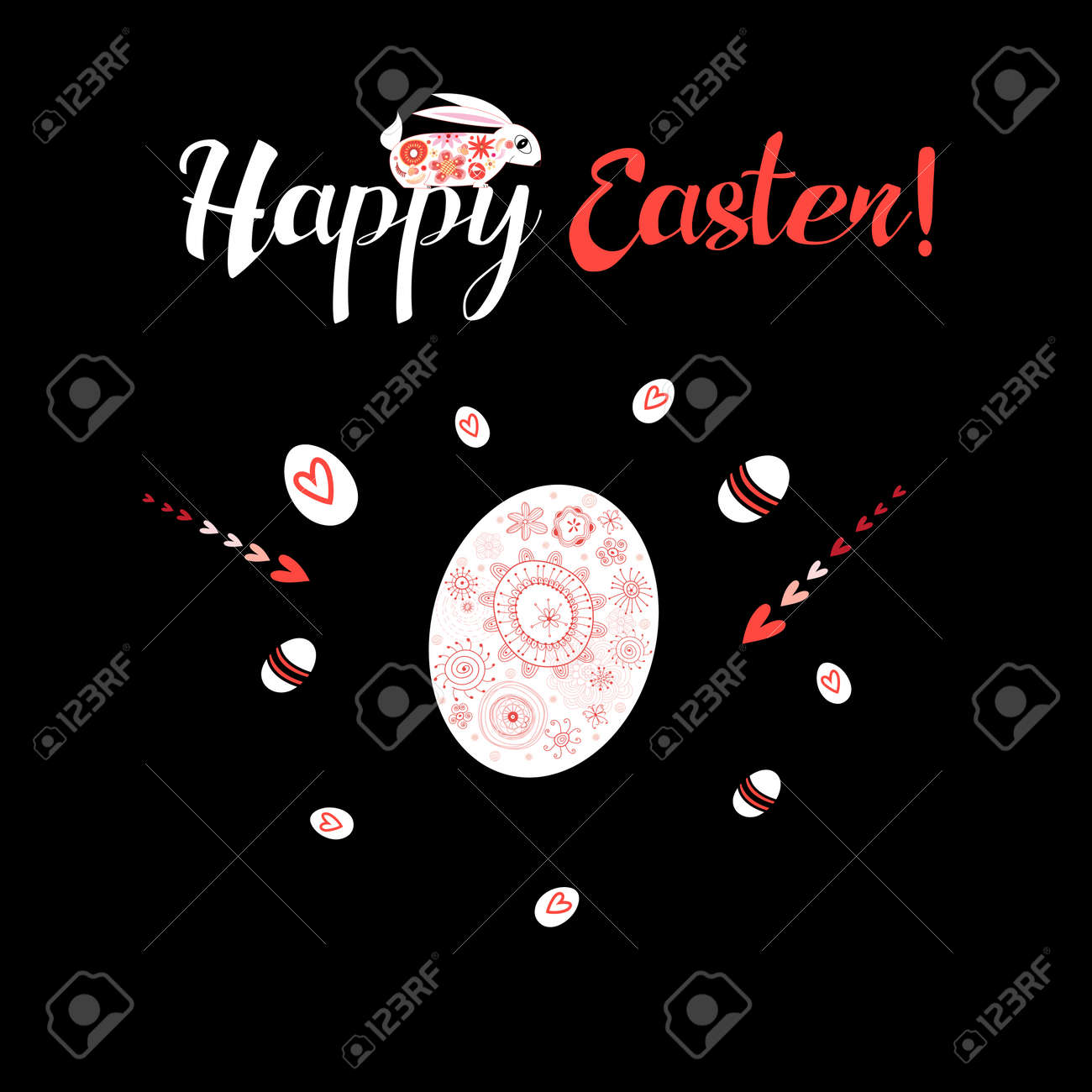 Greeting card with an Easter egg and hares - 164981344
