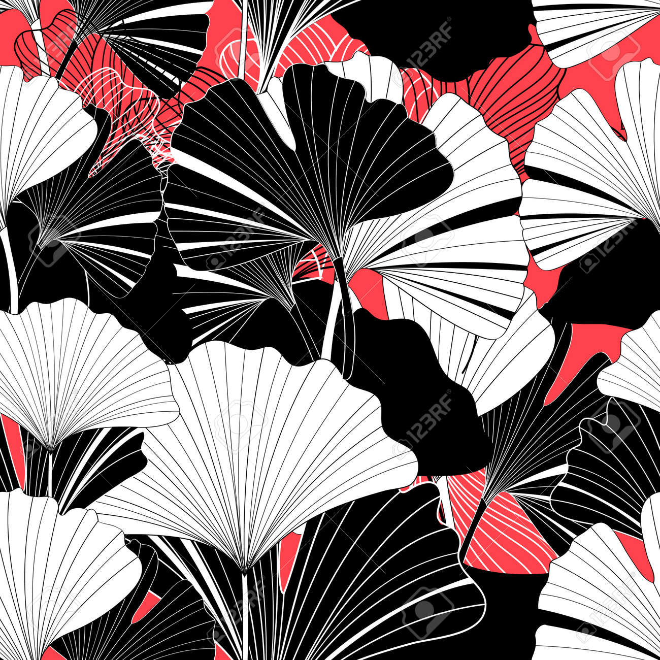 Beautiful graphic patterns are seamless with ginkgo leaf - 164981346