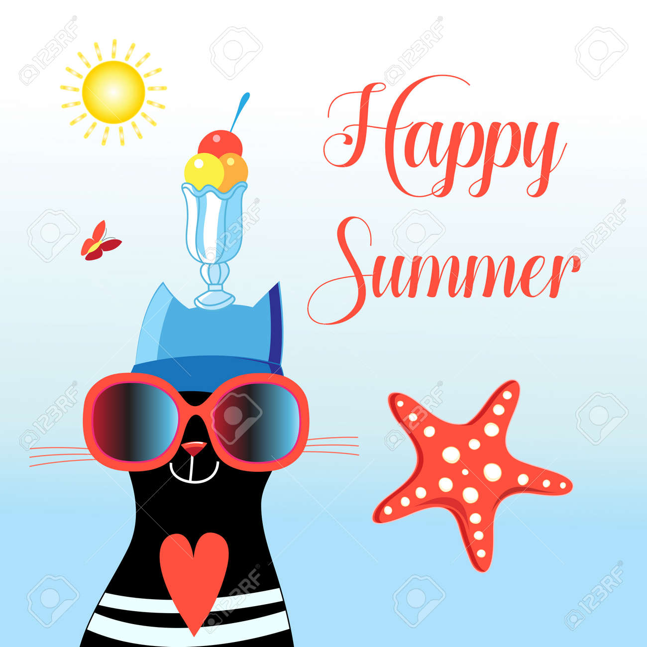 Happy cat with happy summer glasses - 164771301