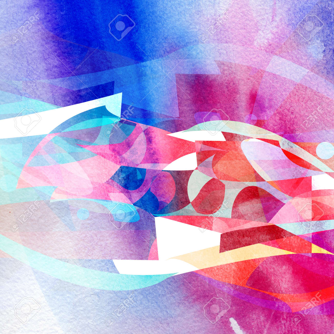 Abstract dynamic watercolor background with waves and lines - 165277878