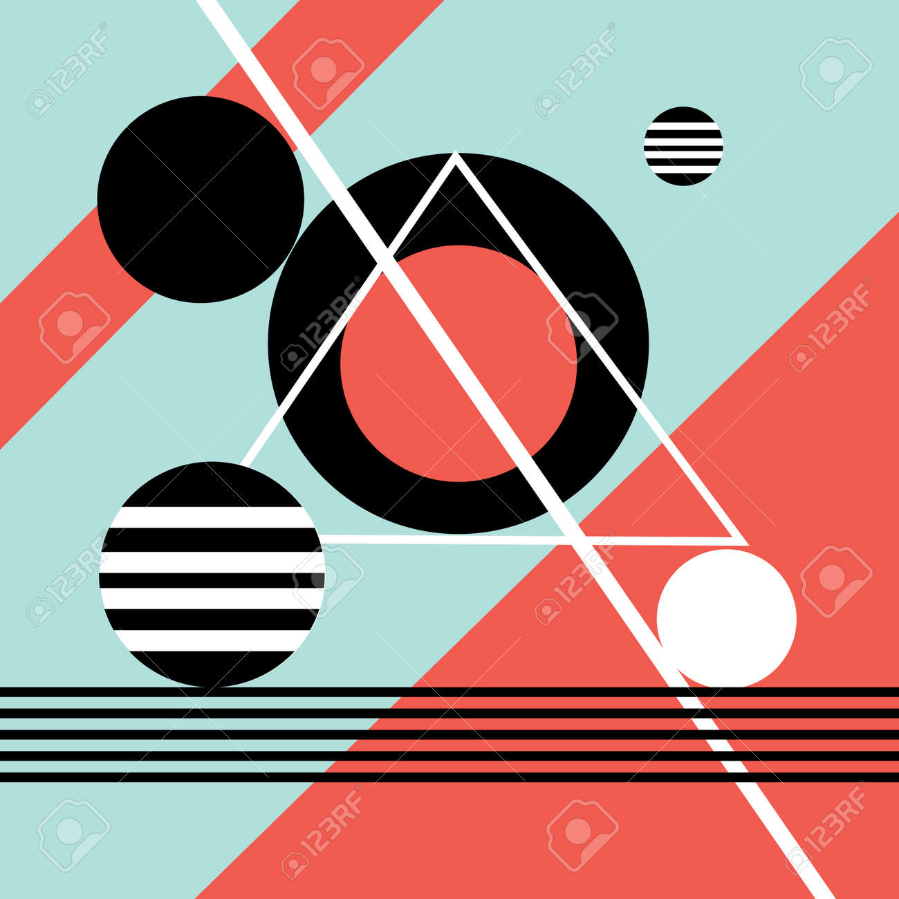 Abstract vector background with different geometric elements - 166165482