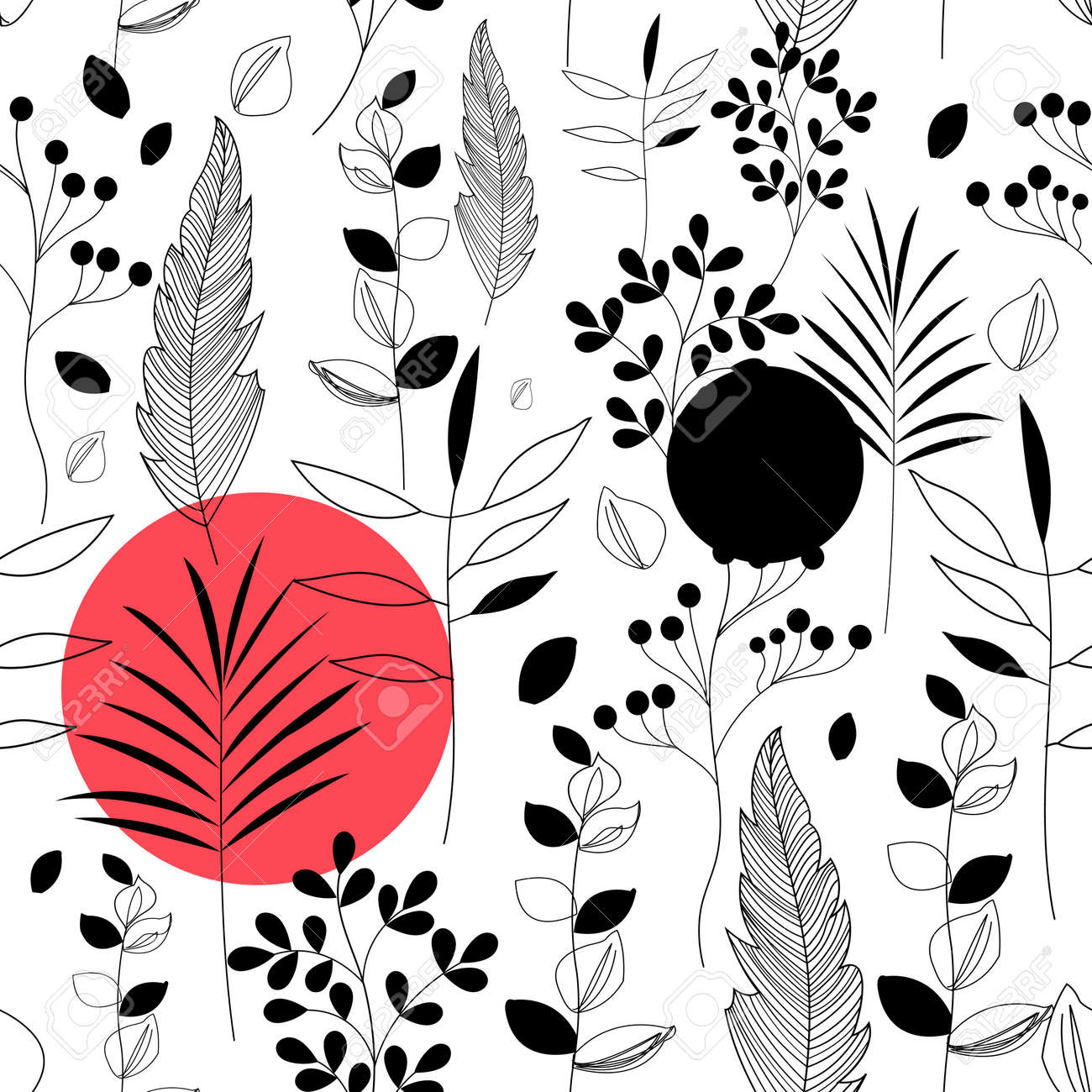 Seamless floral pattern of plants and flowers - 166465861