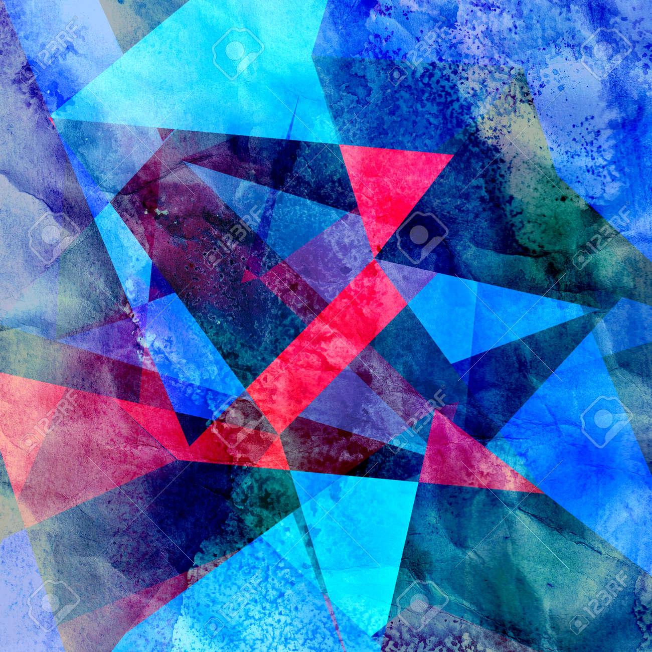 Abstract geometric watercolor retro background - 166486353