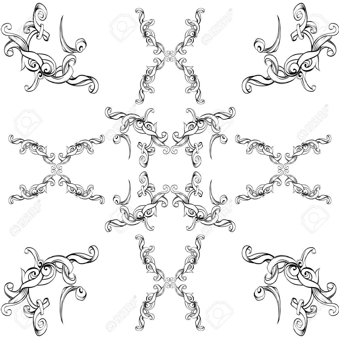 Cornici Disegno Bianco E Nero.Disegno A Mano Cornice D Epoca Elementi Barocchi Per La Pubblicita In Stile Vintage Ornamento Per Inquadrare Il Logo O Il Testo Elenco A Scorrimento